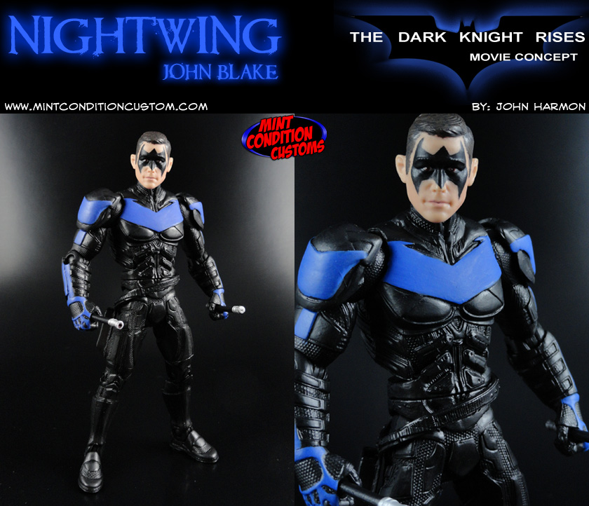 "Custom Nightwing 6"" Dark Knight Rises DC Universe Classics Movie Masters Robin John Blake Concept Action Figure"