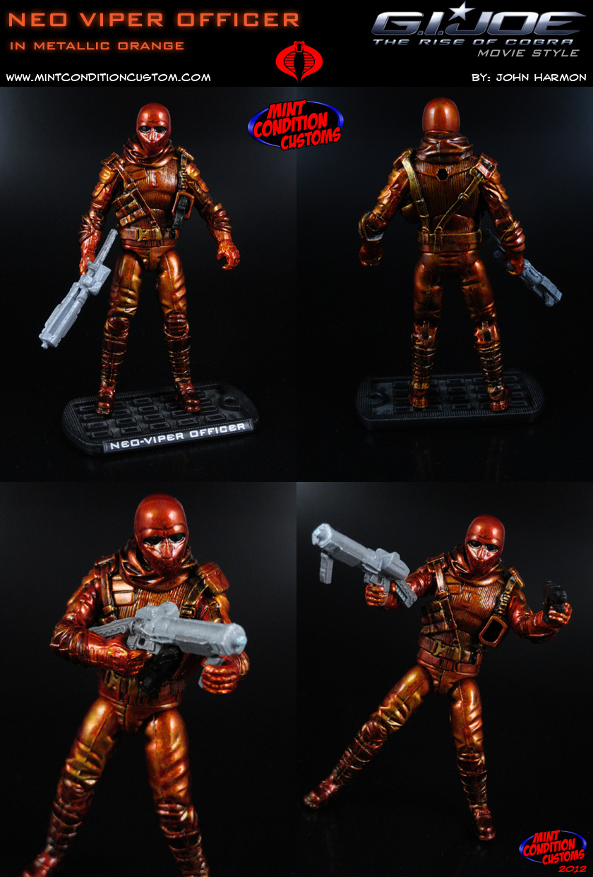 "Custom Neo Viper Officer (Mettalic Orange) 3 3/4"" G.I. Joe Rise Pursuit of Cobra Retaliation Action Figure"