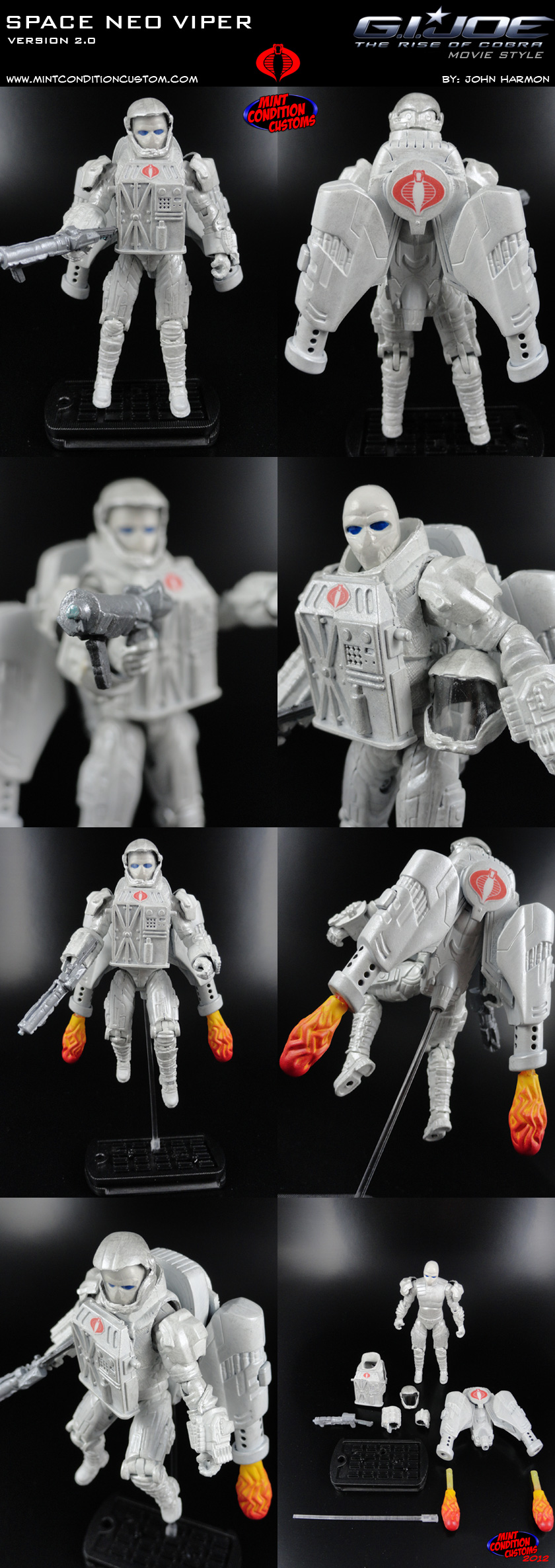 "Custom Space Neo Viper Version 2 3 3/4"" G.I. Joe Rise Pursuit of Cobra Retaliation Action Figure"