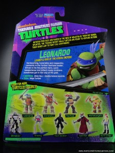 2012 Nickelodeon Teenage Mutant Ninja Turtles TMNT Leonardo card back and bio