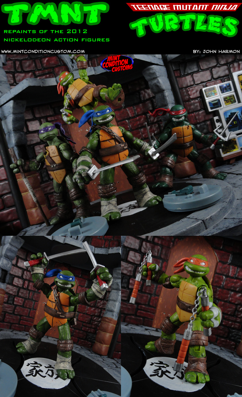 Custom Repainted Nickelodeon Teenage Mutant Ninja Turtles Action Figure Set