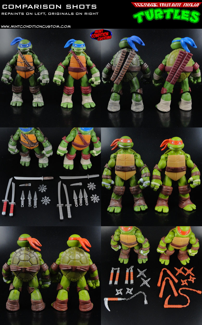 Custom Nickelodeon Teenage Mutant Ninja Turtles Comparison Shots with Original Factory Playmates Figures