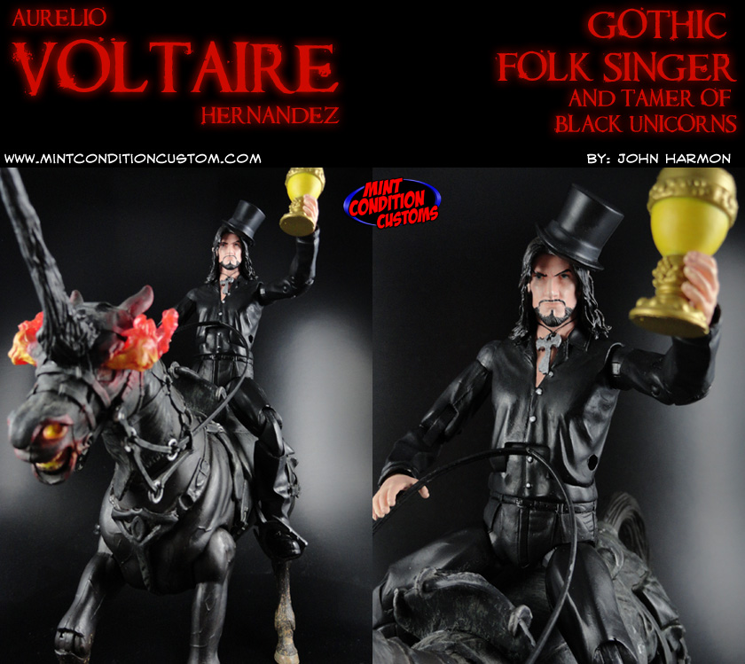 "Custom 6"" Aurelio Voltaire Action Figure Gothic Folk Singer Black Unicorn"