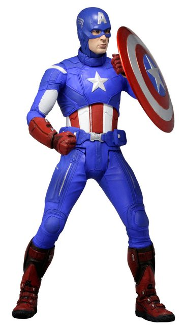 "NECA Toys 1/4th 18"" Scale Captain America Avengers Movie Action Figure"