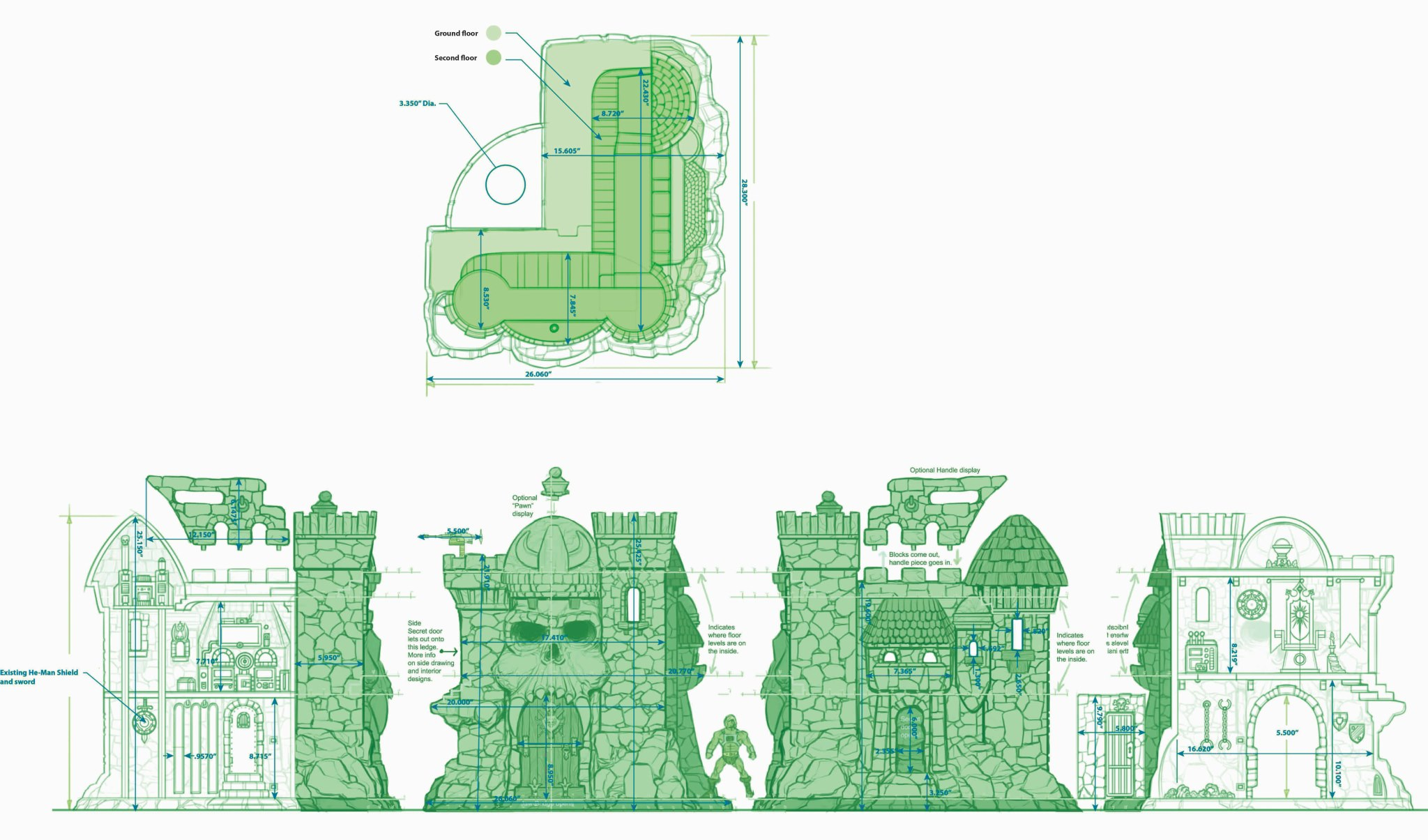 Mattel Masters of the Universe Classics Castle Grayskull Blueprints