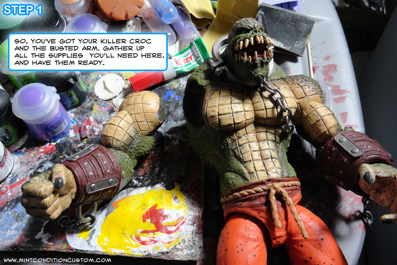 How to Repair DC Collectibles Deluxe Arkham City Killer Croc's Broken Shoulder