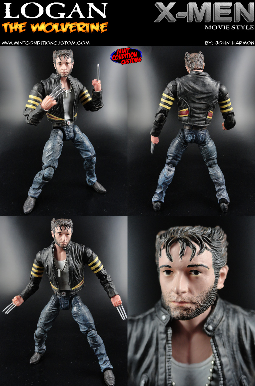 "Custom Logan/Wolverine (X-Men Movie Style) 6"" Marvel Legends Action Figure Hugh Jackman Origins"