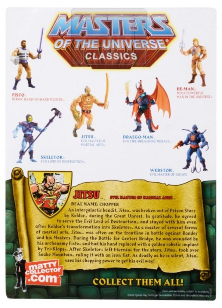 Masters of the Universe Classics Mattel MOTUC Jistu In Package Carded Back View