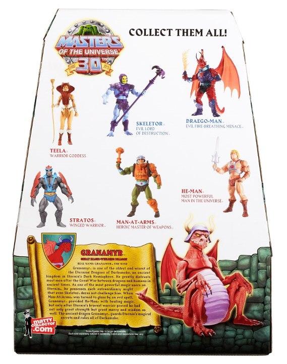 Masters of the Universe Classics MOTUC Granamyr Dragon In Package Back & Bio