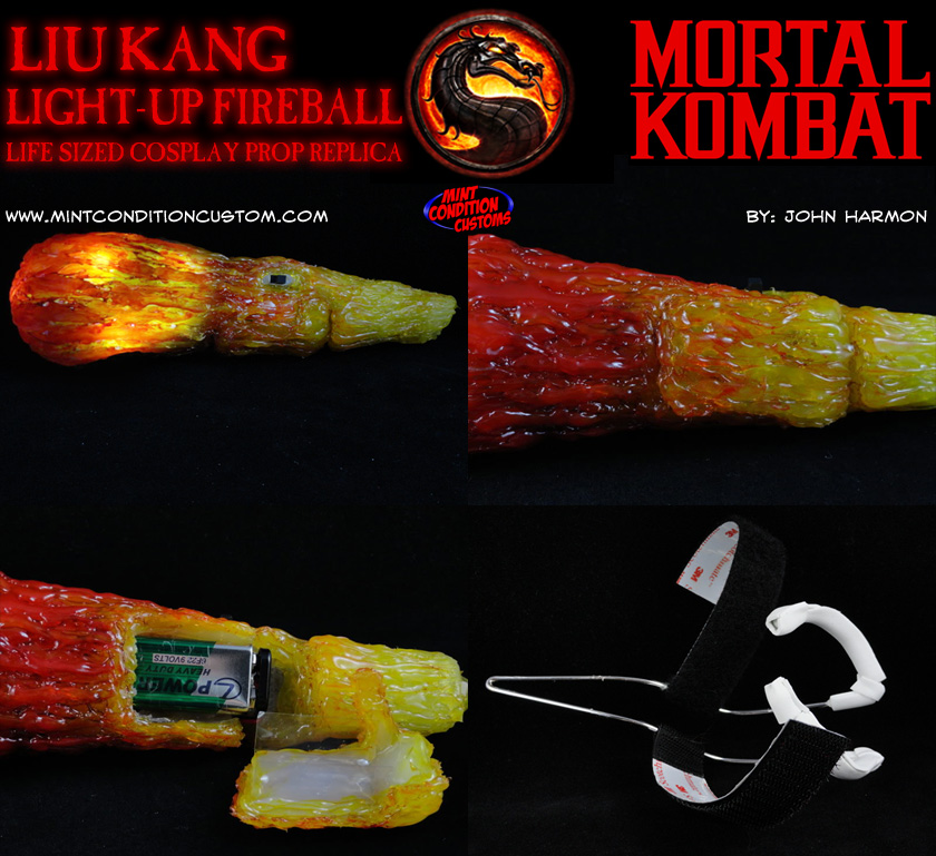 Custom Mortal Kombat Light-Up Fireball Prop Replica