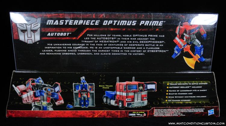Transformers Masterpiece Optimus Prime In Package Back