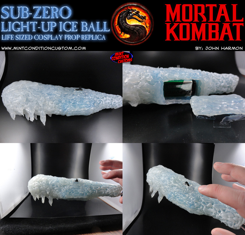 Custom Mortal Kombat Light-Up Sub-Zero Ice Ball Prop Replica