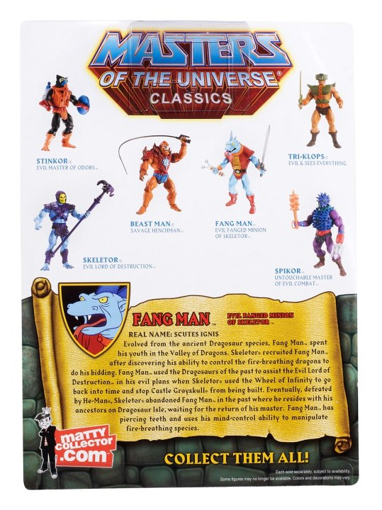 Masters of the Universe Classics Fang Man Mattel Card Back