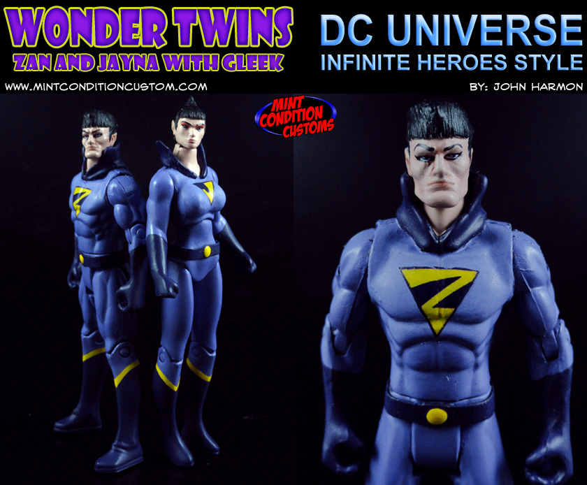 "Custom Wonder Twins with Gleek 3 3/4"" DC Universe Action Figures"