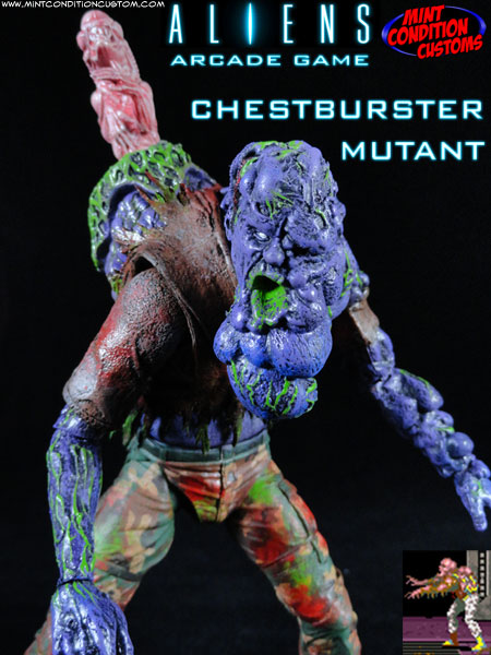 Custom Chestburster Mutant Aliens Arcade Game Action Figure