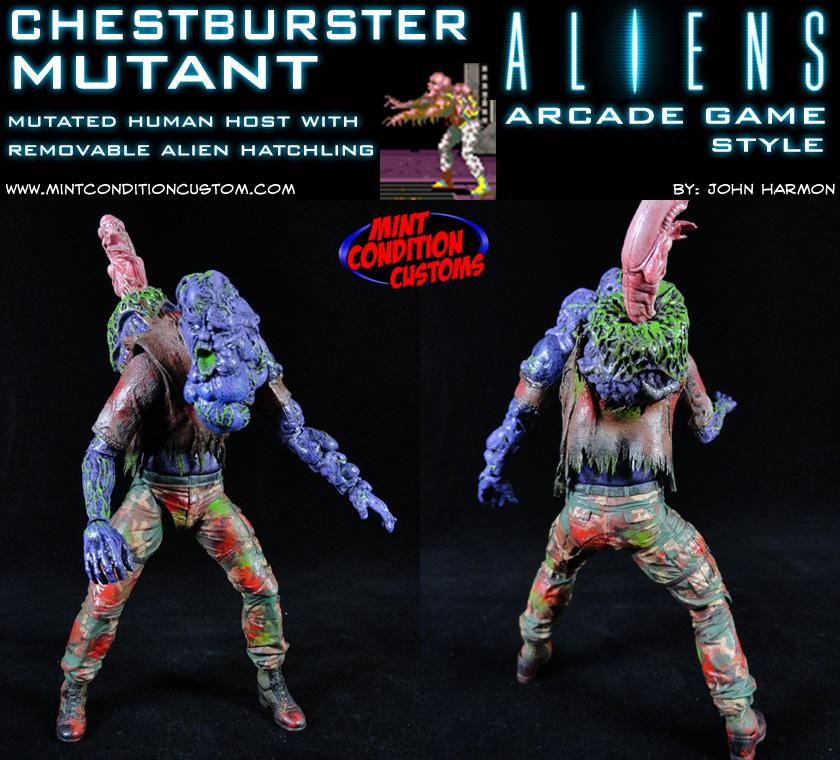 Custom Chestburster Mutant Aliens Arcade Game Action Figure