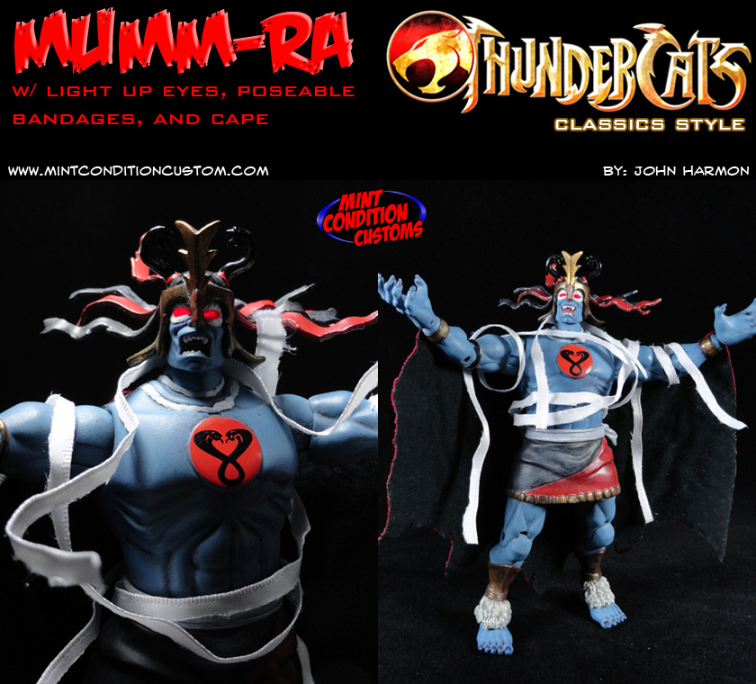 "Custom Mumm-Ra w/ Light Up Eyes 6"" Thundercats Classics Action Figure"