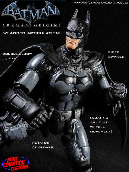 "Custom Arkham Origins Batman (W/ Added Articulation) 6"" DC Universe Action Figure"
