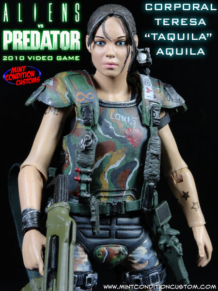 Custom Aliens Vs. Predator Tequila Colonial Marine NECA Action Figure
