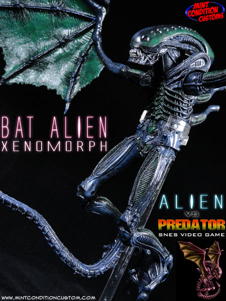 Custom Bat Alien, SNES Alien Vs. Predator Video Game Action Figure