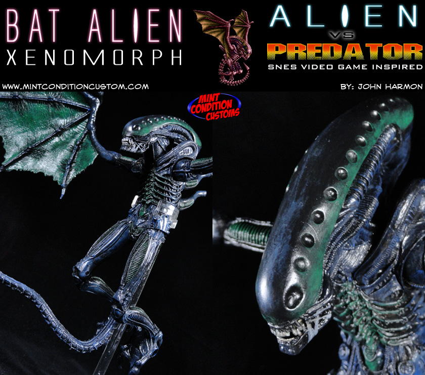 Custom Bat Alien, SNES Alien Vs. Predator Video Game Action Figure