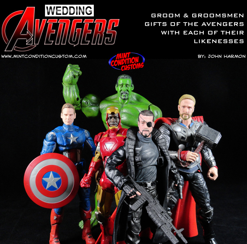 "The Wedding Avengers (Groomsmen & Groom Gifts) 6"" Marvel Legends Custom Action Figures"