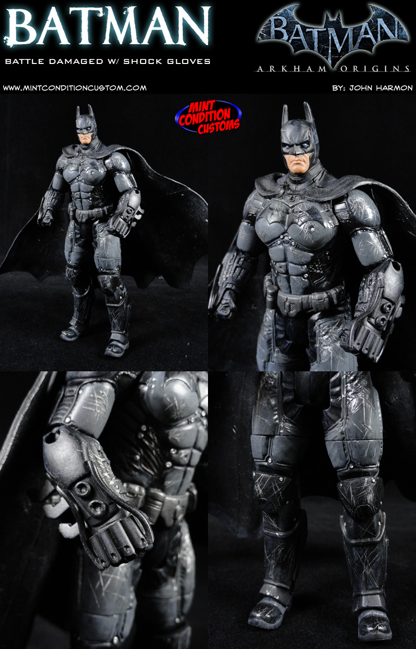 "Batman Arkham Origins (Battle Damaged W/ Shock Gloves) 6"" DC Universe Custom Action Figure"