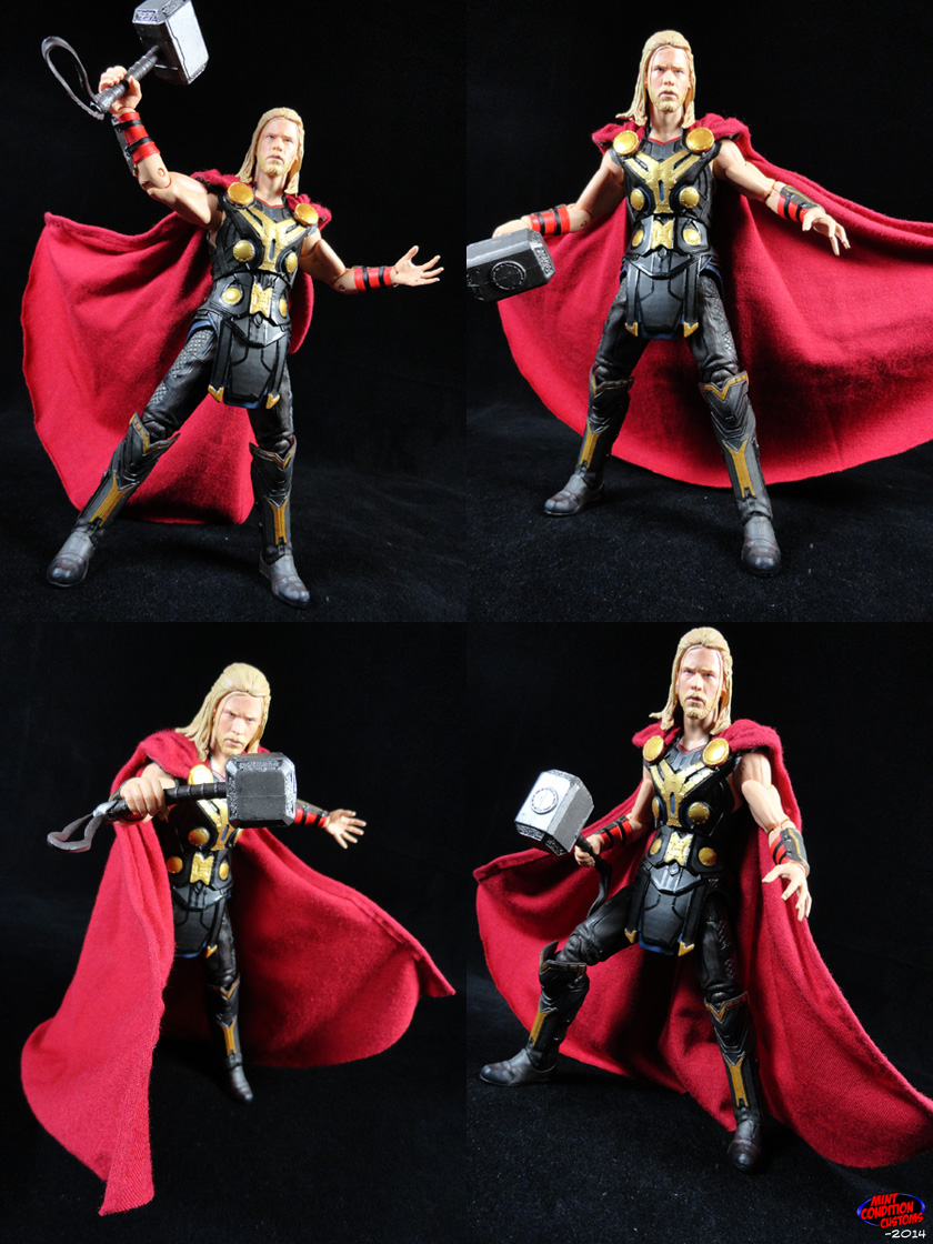 Thor the Dark World W/ Cloth Poseable Cape Marvel Select Custom Action Figure