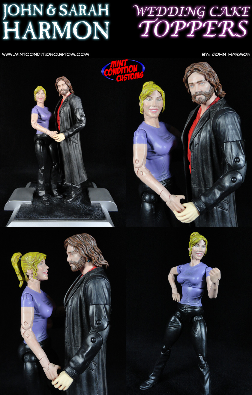 John and Sarah Harmon Wedding Cake Topper Custom Action Figures