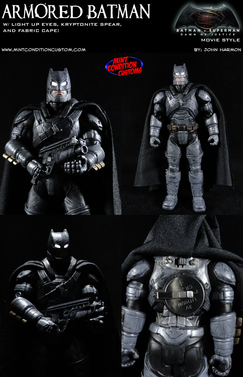 Armored Batman with Light Up Eyes (Batman v Superman Movie Style) DC Universe Custom Action Figure
